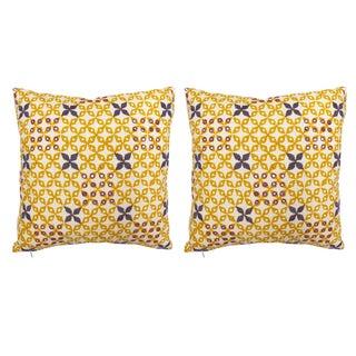 Seema Krish Sona Gold Mahalaxmi Pillows - A Pair For Sale