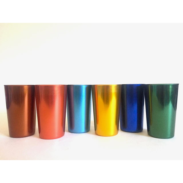 Vintage Mid Century Modern Italy Anodized Spun Aluminum Multicolor Tumbler Cups - Set of 6 For Sale - Image 10 of 13