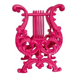 Vintage Harp Design Iron Hot Pink Magazine Holder / Rack For Sale
