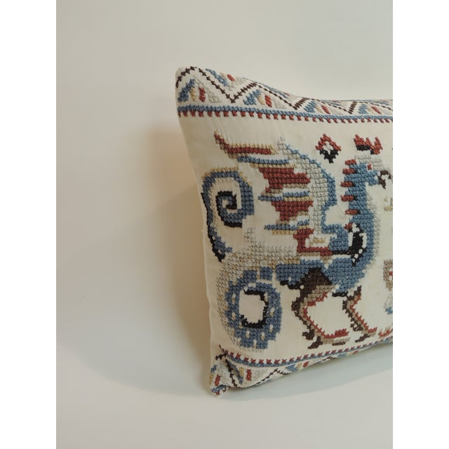 Baroque Vintage Red & Blue Needlework Tapestry Bolster Decorative Pillow For Sale - Image 3 of 5