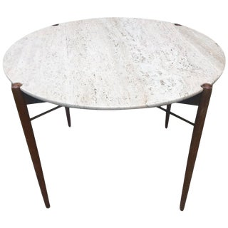 Oak Brass and Travertine Table by Swedish Designer Bruno Mathsson For Sale