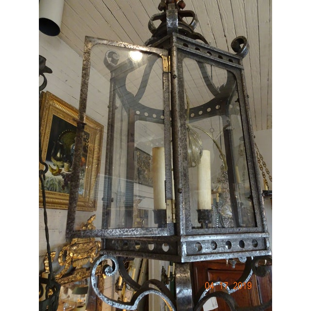 French Vintage Iron Lantern For Sale - Image 10 of 12