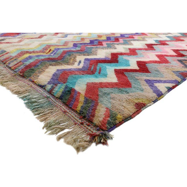 20802 contemporary Moroccan rug with Missoni style, Berber Moroccan rug. This hand knotted wool Contemporary Berber...