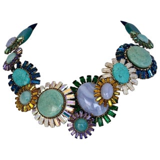 Philippe Ferrandis Chalcedony, Agate, Jasper & Turquoise Constellation Necklace For Sale