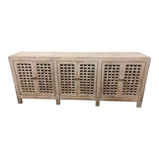 Asian Modern Spackle White 6 Door Lattice Sideboard For Sale
