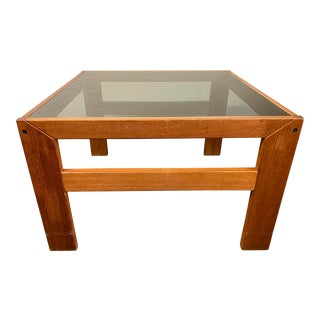 Late 20th Century Teak + Smoked Glass Coffee Table For Sale