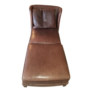 Baker Leather Lounge Chair & Ottoman For Sale