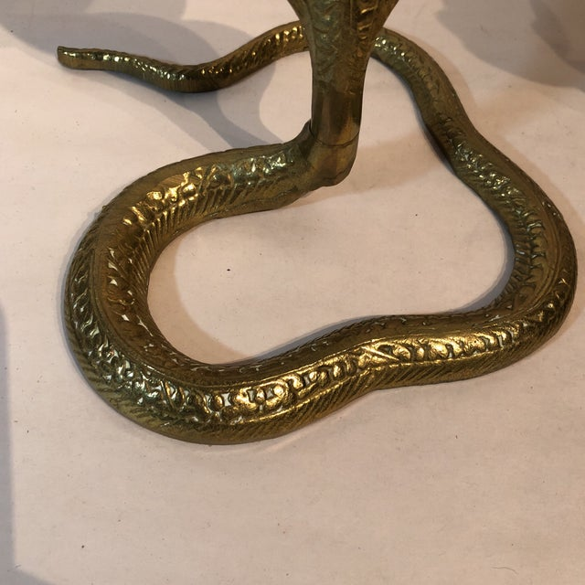 Brass King Cobra Candle Holders - a Pair For Sale In Kansas City - Image 6 of 11