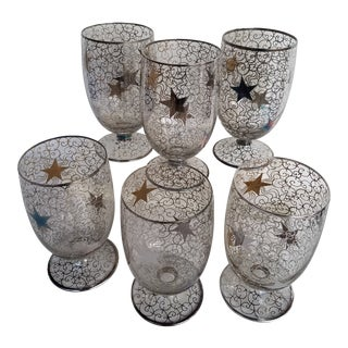 1950s Mid-Century Modern Sterling Silver Overlay Glasses With Star and Swirl Motif - Set of 6 For Sale