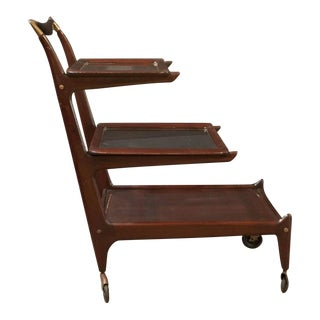 Sleek and Sexy Italian Mod Rosewood Bar Cart by Cesare Lacca For Sale