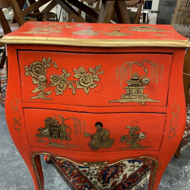 Early 20th Century 20th Century Asian Red Hand Painted Accent Table For Sale - Image 5 of 8