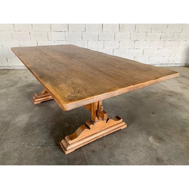 Antique French Farmhouse Solid Oak Wood Trestle Dining Table 19th C. For Sale In New York - Image 6 of 13