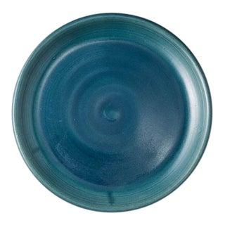 Contemporary Handmade Ceramic Lia Round Snack Plate - Azure For Sale