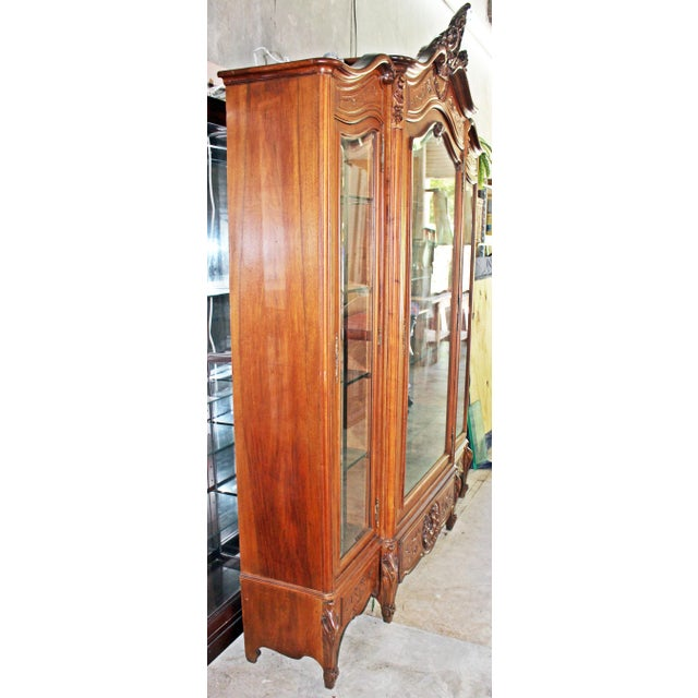 Brown 19th Century French Provincial 3-Door Armoire For Sale - Image 8 of 11
