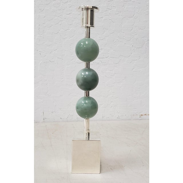 Sigurd Persson Silver Plate & Stone Candle Holder For Sale In San Francisco - Image 6 of 7