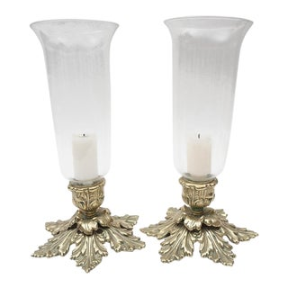Solid Brass Hurricane Candle Holders - a Pair For Sale