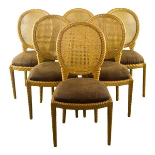 Vintage Brown Upholstery & Yellow Caning Dining Chairs - Set of 6
