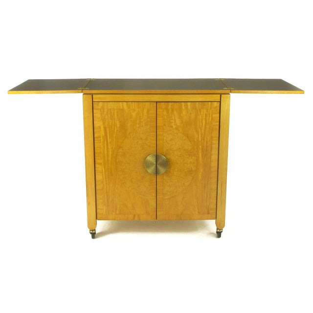 Baker Furniture Company Charles Pfister for Baker Primavera Mahogany Parquetry Bar Cabinet For Sale - Image 4 of 10