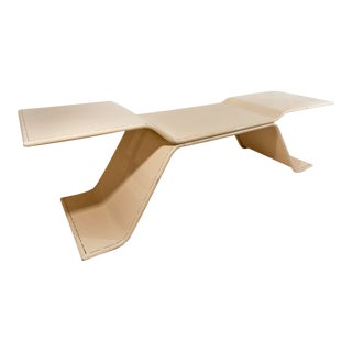Large Scale 1970 French Pale Cream Enamelled Metal Architects Table For Sale