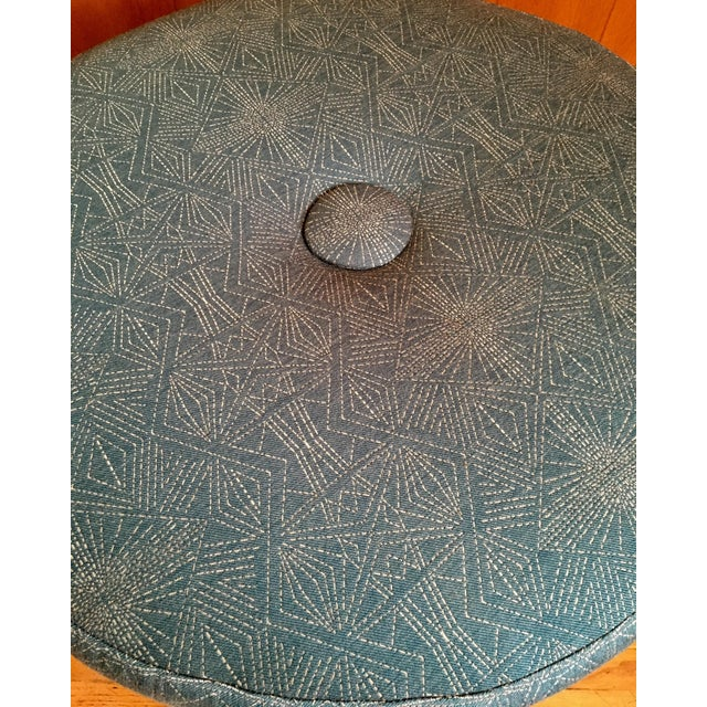 Plush Round Ottoman on Iron Base - Image 5 of 6