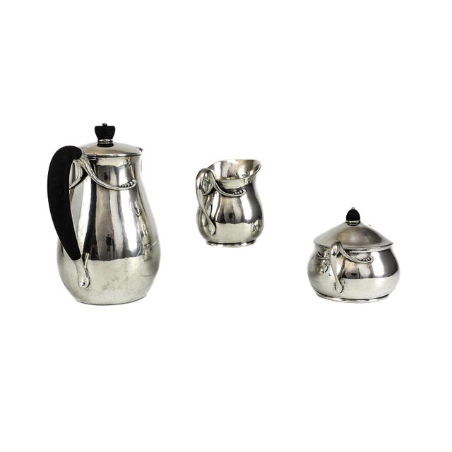Silver Circa 1940 Evald Nielsen Silver Modernist Coffee Service Set - Set of 3 For Sale - Image 8 of 8