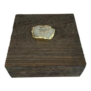 Grey Wooden Box with Stone