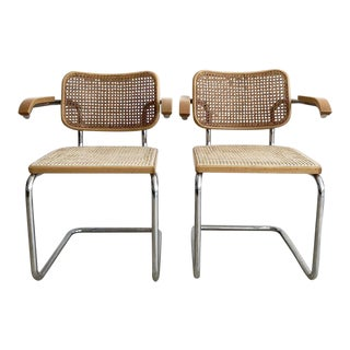 1970s Vintage Marcel Breuer for Knoll Cane Cesca Armed Chairs- Pair For Sale