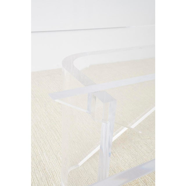Monumental Italian Moderne Sculptural Lucite Dining Table For Sale - Image 9 of 13
