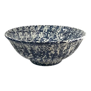 20th Century Italian Monumental Blue and White Sponge Design Bowl For Sale