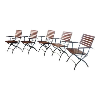 French Bistro Cafe Iron and Hardwood Slat Folding Arm Chairs-Set of 5 For Sale