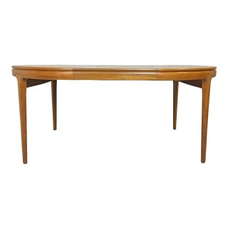 Danish Modern Round Teak Table by Torring With Two Leaves For Sale