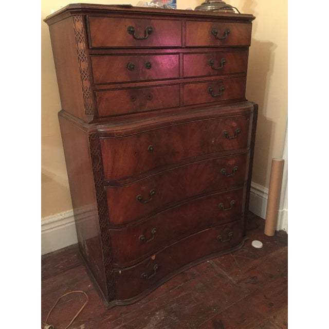 Beautiful wood dresser with antique intricate detailing. It is a beauty ready for creative restoration. Pulls need to be...