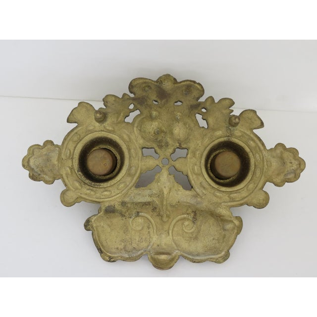 Vintage Brass Inkwell For Sale - Image 4 of 5