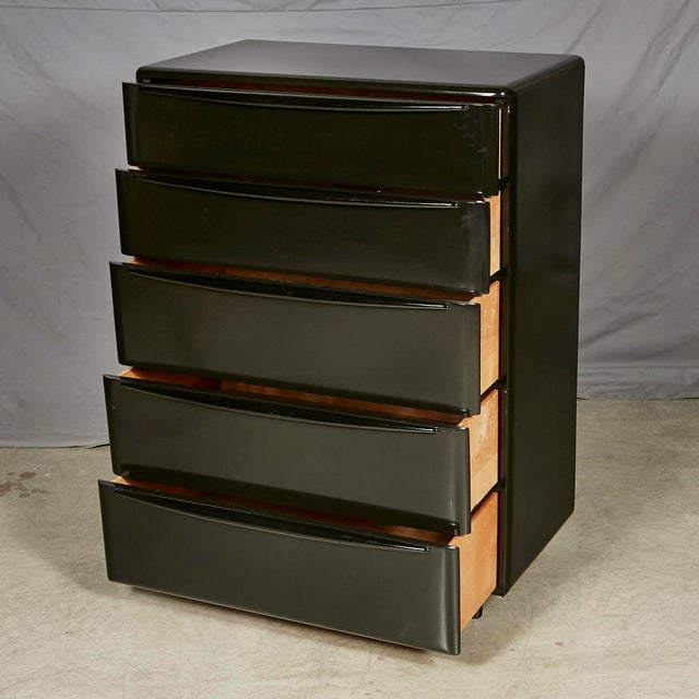 Lacquer 1950s Black Lacquered Chest of Drawers For Sale - Image 7 of 8