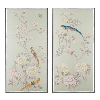 """Jardins en Fleur """"Chatsworth House"""" Chinoiserie Hand-Painted Silk Diptych in Italian Silver Frame by Simon Paul Scott - a Pair For Sale"""