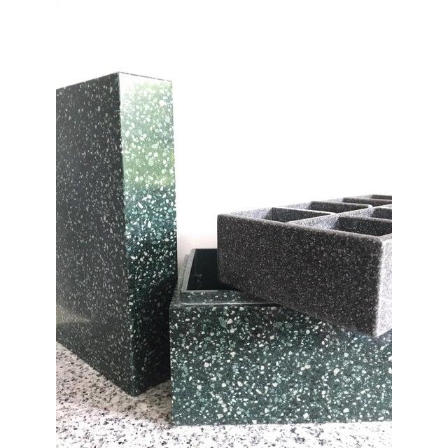 Post Modern Green Jesmonite Terrazzo Stone Jewelry Box For Sale In Portland, OR - Image 6 of 10