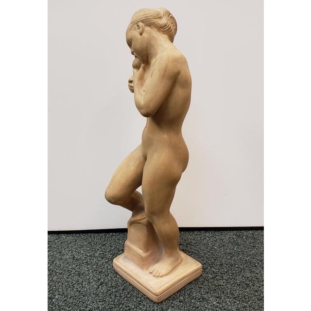 """Up for sale is a 1918 Danish Art Deco Kai Nielsen for Herman Kahler """"Eve with the Apple"""" Terracotta Sculpture! It measures..."""