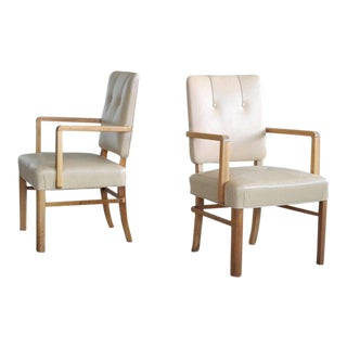 Pair of Danish Midcentury Executive Desk or Side Chairs in Beige Leather For Sale