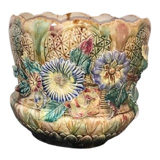 Late 19th Century French Majolica Jardiniere For Sale