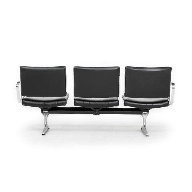 Chromcraft Chromcraft Black 3-Seat Original Vinyl Airport Bench For Sale - Image 4 of 5