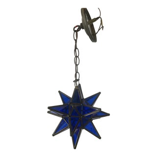 1960s Vintage Moroccan Cobalt Blue Star Lantern For Sale