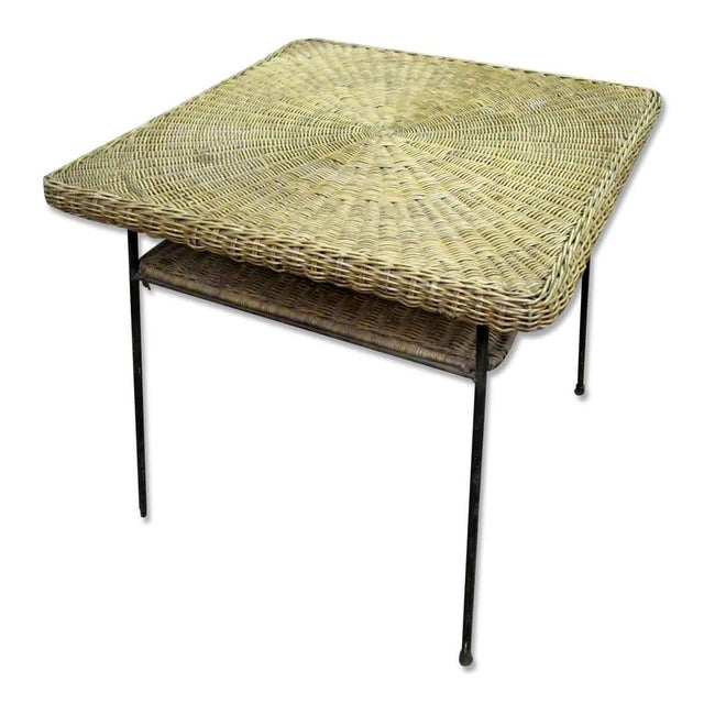 Boho Chic Antique Wicker Desk With Metal Legs For Sale - Image 3 of 8 - Antique Wicker Desk With Metal Legs Chairish