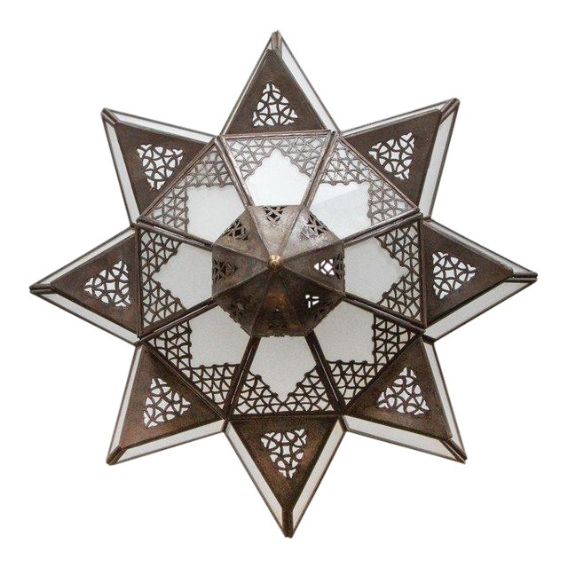 Moroccan Moorish Star Shape Frosted Glass Light Shade For Sale - Image 10 of 10