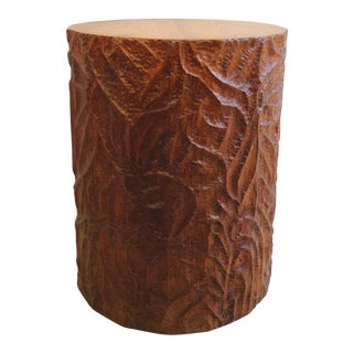 Chip Carved Stump Side-Table For Sale