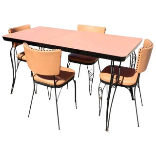 1950s Vintage Mid-Century Modern Peach Formica Table & 4 Chairs