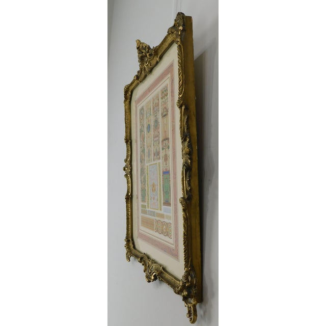 Rococo Gilt Framed Pair of Prints Showing Samples of Decorative Wallpaper Borders For Sale In Philadelphia - Image 6 of 13