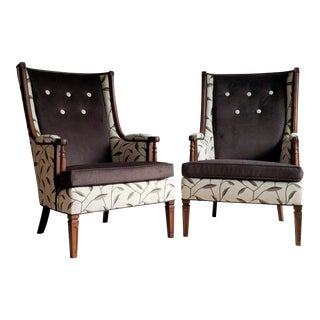 Custom Tailored Wingback Chairs - a Pair For Sale