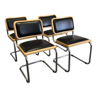 1980s Mid-Century Modern Marcel Breuer Cantilever Chairs - Set of 4 For Sale