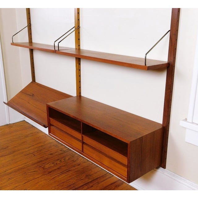 Brass Danish Modern Teak Floating Adjustable Desk Wall Unit Bookcase by Carlo Jensen for Hundevad & Co For Sale - Image 7 of 9
