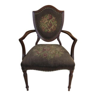 French Louis XVI Shield Back Arm Side Chair With Needlepoint Tapestry For Sale